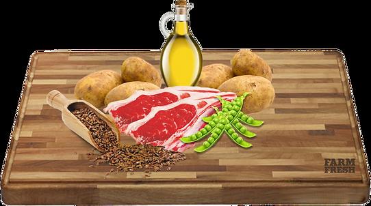 Hrášek, jehněčí moučka (23%), brambory, drůbeží tuk, řepné řízky, pivovarské kvasnice, L-carnitin, taurin.