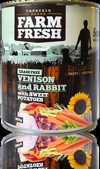 Farm Fresh venison and rabbit with sweet potatoes