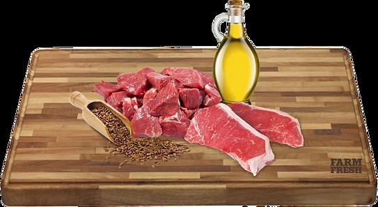 Hovězí maso (srdce, maso, plíce, játra, dršťky,) 70%, hovězí vývar28,9%, minerály 1%, lněný olej 0,1%.