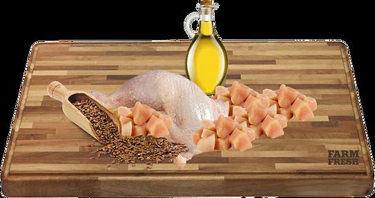 Kuřecí maso (srdce, maso, játra, žaludky, krky) 70%,28,9% kuřecí vývar, minerály 1%, lněný olej