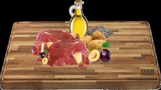 zvěřina ( srdce, játra, plíce, dršťky, vývar), švestka 2%, sladké brambory 2%, minerální látky 1%, slunečnicový olej 0,2%