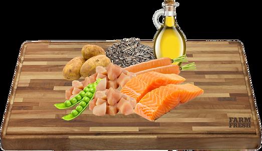 kuře, losos a vedlejší prod. z kuřete a lososa, brambory 5%, mrkev 3%, hrášek 2%, minerální látky 1%, slunečnicový olej 0,2%