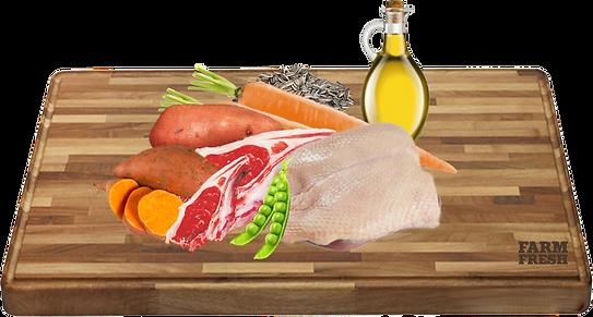 ovčí maso, kachna a vedlejší prod. z ovce a kachny, mrkev 5%, hrášek 4%, minerální látky 1%, slunečnicový olej 0,2%