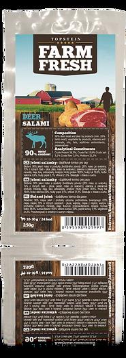 90% jelení maso a produkty živočišného původu (20% maso ze svaloviny, 70% z různých částí - plíce, játra, maso ze svaloviny, zelenina a zeleninové produkry, minerály, oleje a tuky