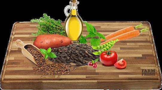 Sušený hmyz, sušené brambory, bramborový škrob, hrášek, živočišný tuk, sladké brambory, dušený svatojánský chleba, lněné semínko, minerály, pivovarské kvasnice, lososový olej, inulin (zdrojem zFOS), kopřiva, echinacea, sušená: mrkev, rajčata, jablka, švestky, banány, tymián, bazalka, spirulina, brusinky, celer.