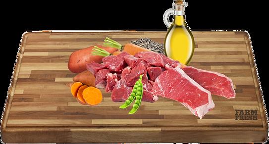 telecí a vedlejší produkty z telecího, sladké brambory 5%, mrkev 3%, hrášek 2%, minerální látky 1%, slunečnicový olej 0,2%