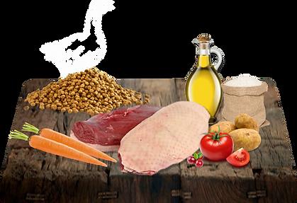 Kachna 43% (z toho kachní masová moučka 28%, čerstvé kachní maso 5%, Kachní tuk 10%), rýže 23%, hnědá rýže 15%, kukuřičný lepek, brambory, rajčatová šťáva, minerály a vitamíny, Omega 3 doplňky stravy 0.7%, sůl, mořská řasa, čekanka 0.3%, mrkev, brusinky, juka Schidigera 200mg/kg