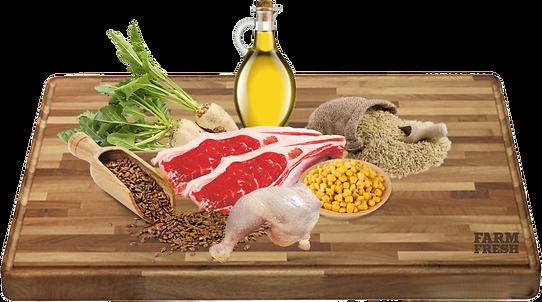 26% Čerstvé jehněčí maso, kukuřice, 14% rýže, rýžová moučka, dehydrované hovězí maso, dehydrované kuřecí maso, kukuřičný lepek, hydrolyzovaná živočišná bílkovina, kuřecí tuk, cukrovarské řepné řízky, pivovarské kvasnice, minerály, 0,1% Manna-oligosacharidy, 0,1% inulin z čekanky – zdroj FOS.