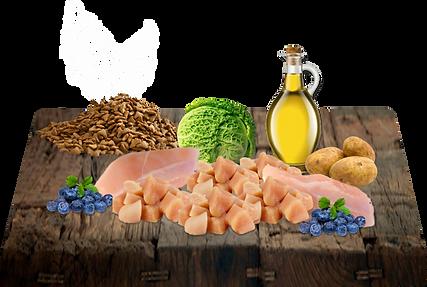 Kuřecí moučka, brambory, kuřecí tuk (konzervován pomocí tokoferolů), celé borůvky, DL-metionin, minerální látky (proteinát zinku, železa, manganu, mědi, jodičnan vápenatý, seleničitan sodný), vitamíny (niacin, thiamin mononitrát, d-kalcium pantotenát, riboflavin, pyridoxin hydrochlorid, kyselina listová, biotin, vitamin B12, vitamin E, vitamin A, vitamin D3), chlorid draselný, propionát vápenatý (konzervant), taurin, kvasnice (zdroj prebiotik), kapusta, glukosamin hydrochlorid.