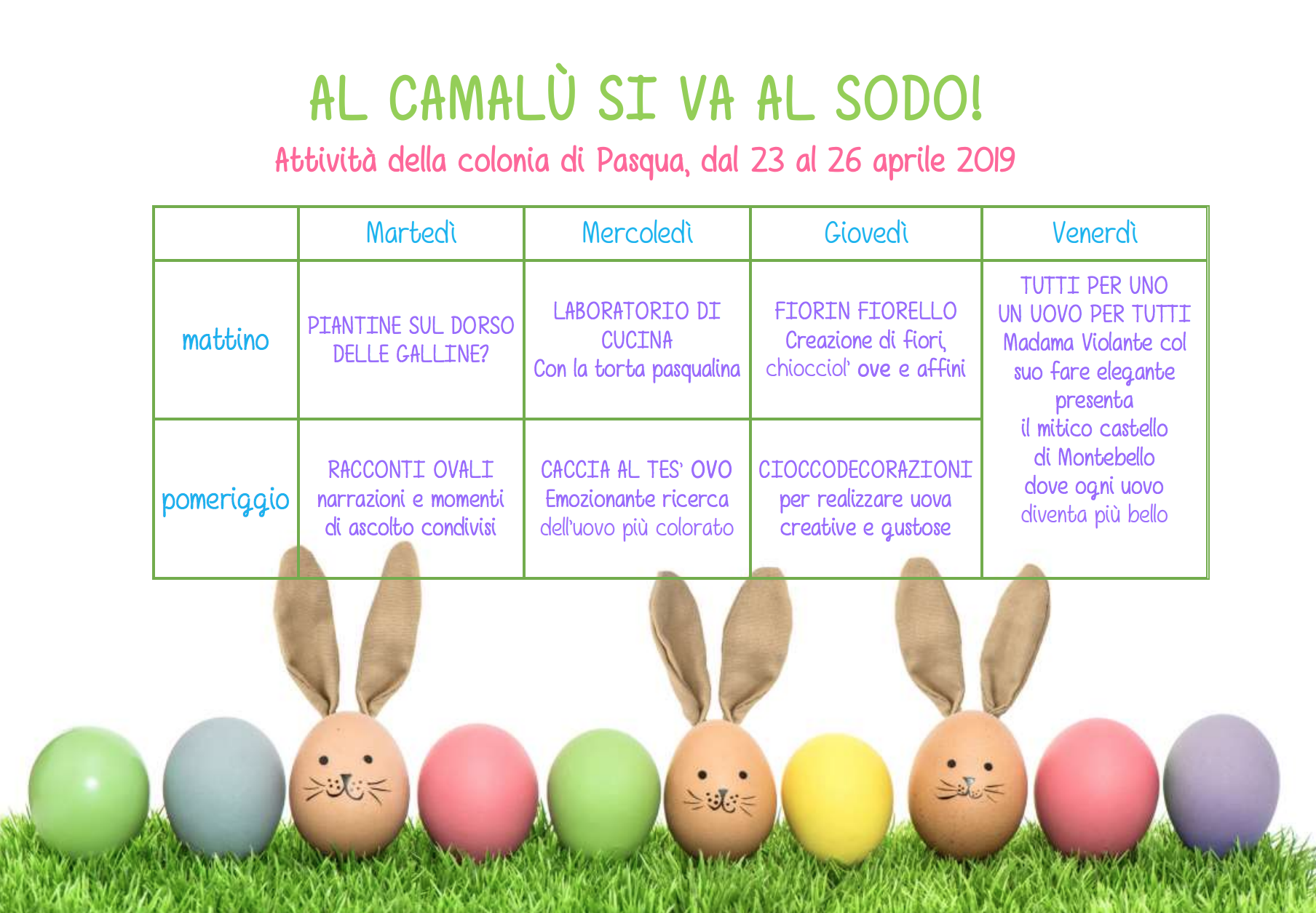 Programma colonia di Pasqua