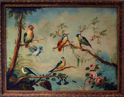 Antique Oil Painting of Birds