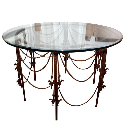 Wrought Iron Swag Center Table, circa 1920s With Glass Top