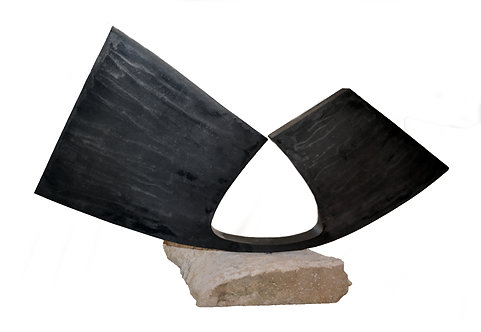Abstract Steel Sculpture on Rough Marble by Scott Donadio