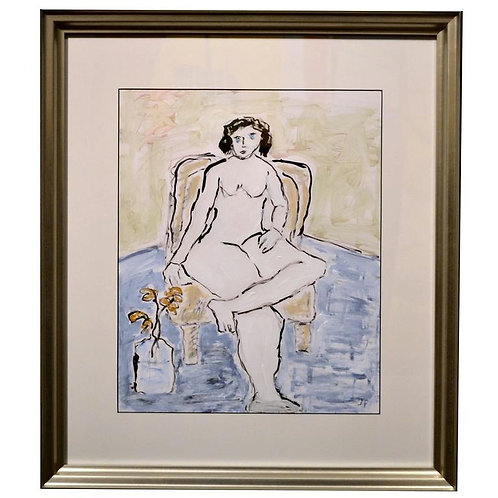 Expressionist Portrait of Nude Female On Chair by JoAnne Fleming (b. 1930)