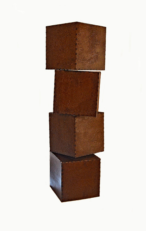 """Stacked Steel Boxes Sculpture by Steve aka """"Shig"""" Shigley"""