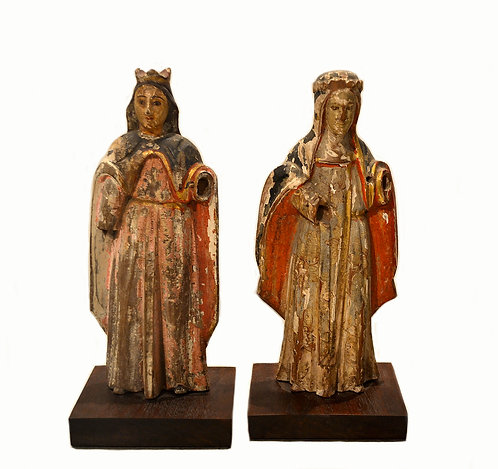Pair 16th Century Hand-Carved Wood Figures of Women In Elaborate Garments