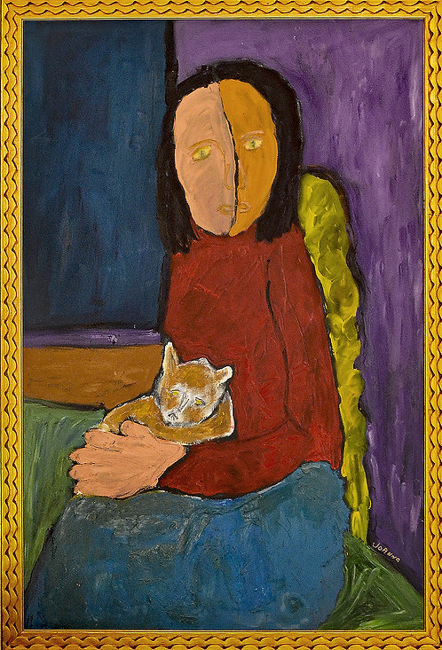 Expressionist Portrait of Lady With Cat by Joanne Fleming (b. 1930)