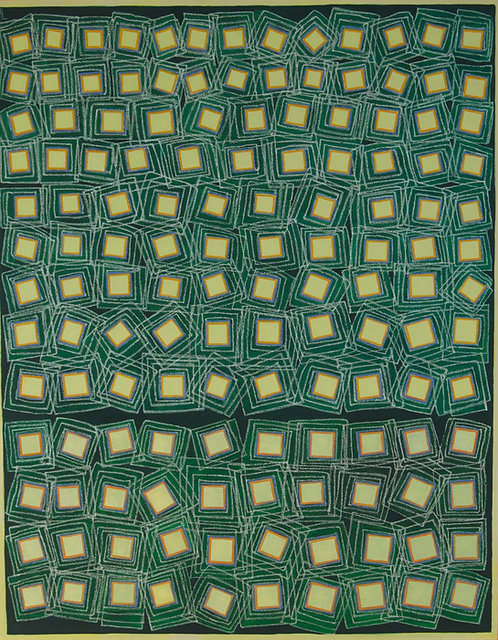 Yellow Squares On Green by Tina Bluefield