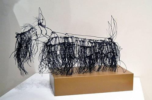 Wire Schnauzer Dog Sculpture by Michael L. Jacques