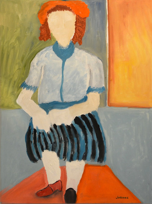 Abstract Portrait of Lady In Black Striped Skirt & Red Hat by JoAnne Fleming