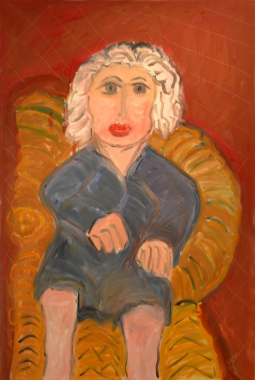 Portrait of White Haired Lady On Wicker Chair by JoAnne Fleming (b. 1930)