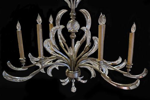 Vintage Italian Silver Leaf Oblong Chandelier