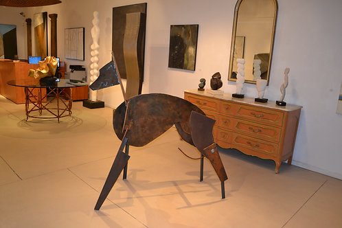 Abstract Steel Whippet Sculpture by Moira Fain