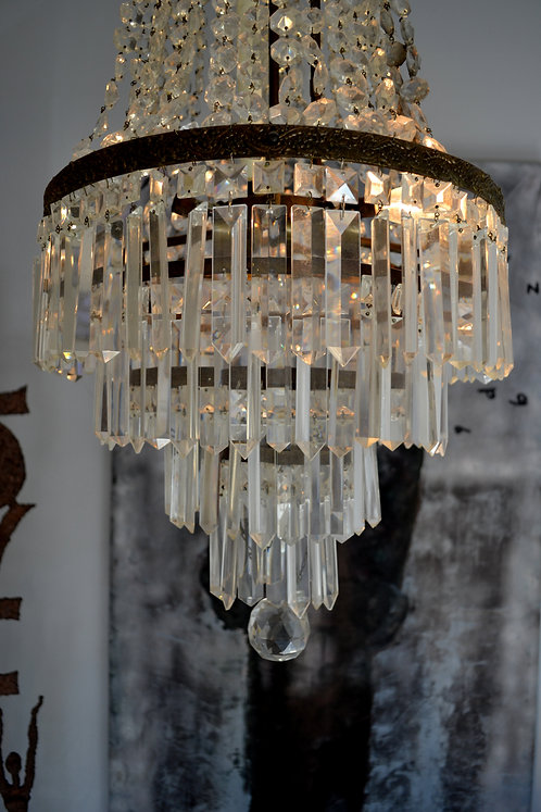 Antique French Empire Cut Crystal Chandelier