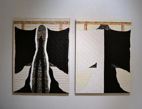 Pair of Kimono Series Paintings by Jane Evans