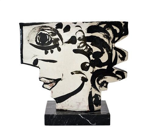 Vintage Abstract Studio Pottery Sculpture of Two Sided Face by Mahl