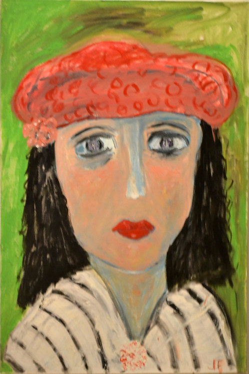 Portrait of Lady With Red Beret Against Green by JoAnne Fleming (b. 1930)