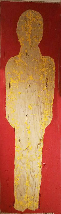"""UNTITLED ABSTRACT YELLOW FIGURE ON RED"" by Christopher Shoemaker"