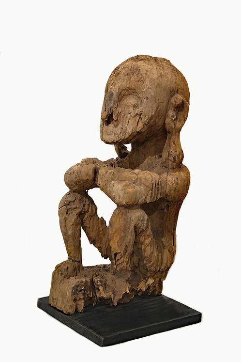 Rare Antique African Carved Wood Figure of a Seated Male