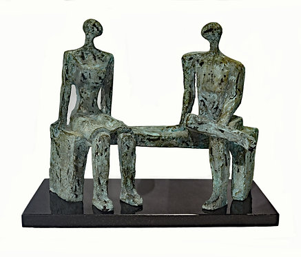 Vintage Bronze Sculpture of Two Figures on a Bench, After Henry Moore