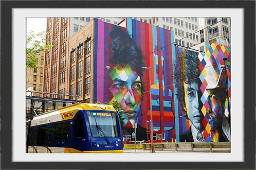 """Bob Dylan Mural With Train"" by Gregg Felsen"