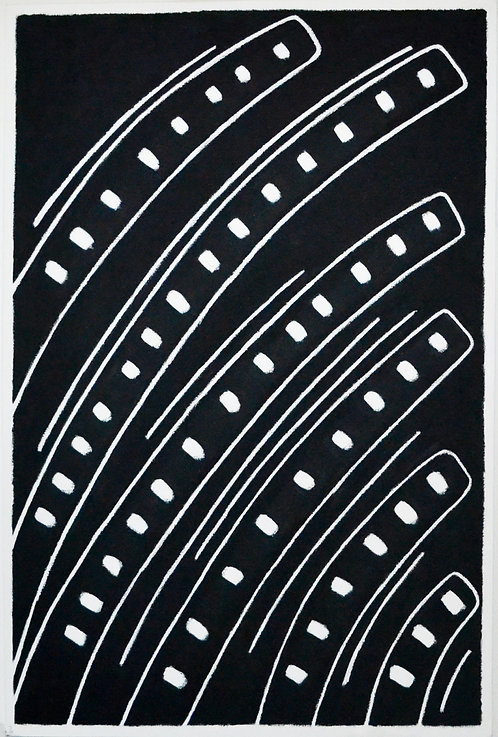 Dots On Curves On Black by Tina Bluefield
