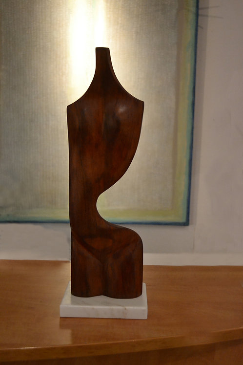 Abstract Mahogany Female Torso Sculpture on Marble