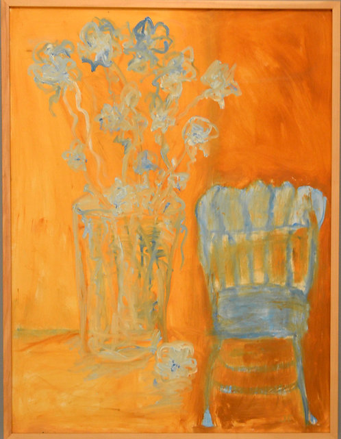 Abstract Still Life With Blue Flowers & Blue Chair by JoAnne Fleming (b. 1930)