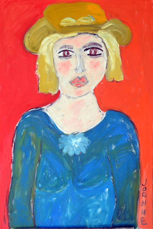 Portrait of Lady With Yellow Hat Against Red-Orange by JoAnne Fleming (b. 1930)
