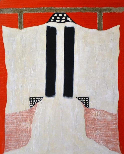 White Kimono on Red by Jane Evans