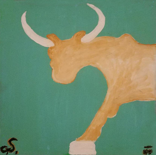 """""""UNTITLED PAINTING OF A BULL"""" by Christopher Shoemaker (b. 1969)"""