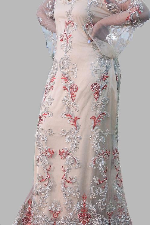 Beige Hand-embellished dress
