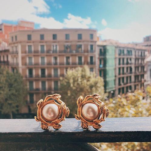 [Paris] Vintage Gold Pearl Starburst Earrings