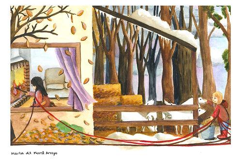 Art print 'And so' tweeluik 2x A4 formaat reeks Rode touwen