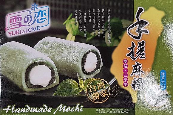 手搓双餡麻糬 Milk and Green Tea Mochi