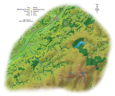BRECON BEACONS NATIONAL PARK GATEWAY MAP  Produced for a large interpretation sign welcoming visitors to the western area of the Brecon Beacons National Park.