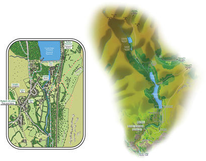 PONTSTICILL VILLAGE & AREA MAPS  Produced for an interpretation sign we designed to welcome visitors to this village in the Brecon Beacons National Park.