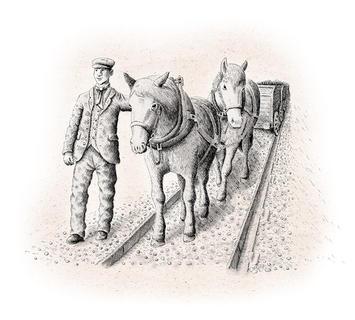 HAY RAILWAY  Horse drawn tram on the Hay Railway for the Talyllyn Phone Box.