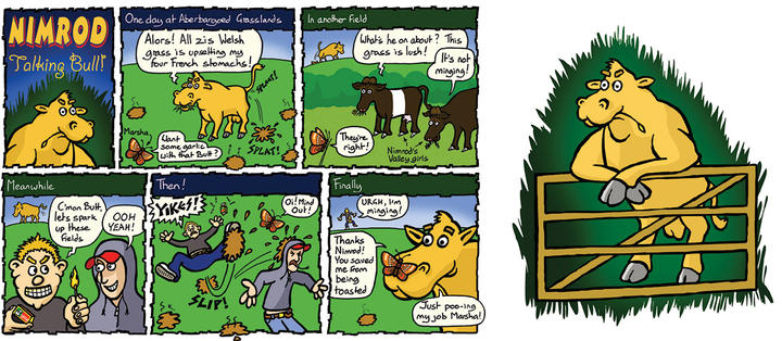 ABERBARGOED GRASSLANDS  Nimrod the bull and his friend Marsha the Marsh Fritillary butterfly make conservation messages fun at Aberbargoed Grasslands National Nature Reserve.