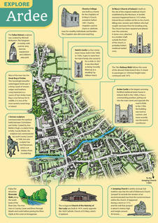 EXPLORE ARDEE  This map was drawn for a leaflet we produced to promote the historic town of Ardee in County Louth in the Republic of Ireland.